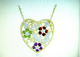 2ctw Multi Gem Flower Heart Necklace