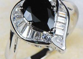 Size 8 1/2 or 10 Gorgeous Black Sapphire Ring