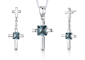 Genuine London Blue Topaz Cross Sterling Set