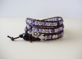 Purple Rainbow Fluorite 3x Wrap Bracelet