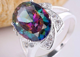 9.3ct Oval rainbow Color Topaz Silver Ring Size 8