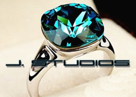 Austrian Aqua Blue Rhinestone & Platinum Plated Ring