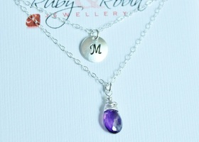 925 Genuine Birthstone & Initial necklace