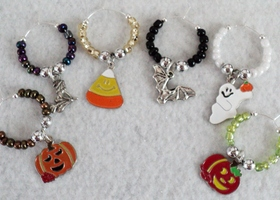 Halloween Friends Wine Glass Charms - Set of 6