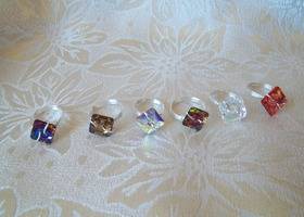 One Swarovski Crystal Button Ring($18 gets earrings)