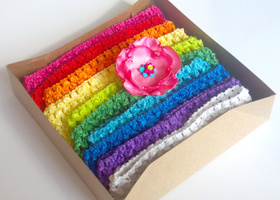"Set of 10 - 1.5"" Crochet Headbands - Rainbow Colors with Flower Clip"