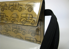 Vintage California Woody and Teardrop Trailer vinyl clutch wallet