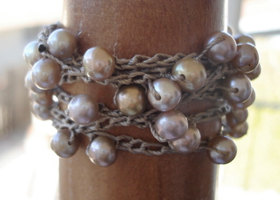 Pearl Wrap Bracelet, Freshwater Natural Pearls Crocheted Cuff