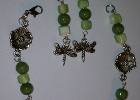 **free ship** Dragonfly and flower Bracelet and Earring set