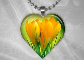 Puffy Heart Shaped Glass Pendant - Yellow Tulips Shimmer Metallic