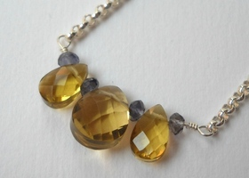 Iolite and Citrine Briolette Necklace in Sterling Silver