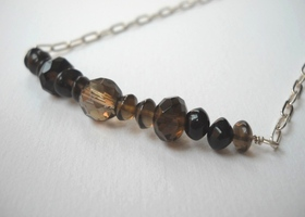 Smoky Quartz Necklace in Sterling Silver