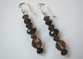 Smoky Quartz Earrings in Sterling Silver