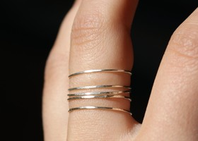 Set of 5 Handmade Sterling Silver Stacking Rings