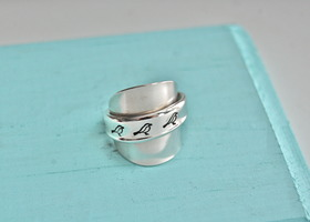 Vintage hand stamped three birds spoon ring, size 6, 7, or 8