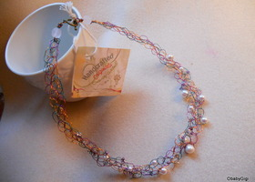 Choker Necklace with Ivory Pearls and Czech Luster Mix Farfalle Beads Handmade Crocheted