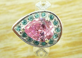 Beautiful Charm Lady Natural Pink & Blue Ring
