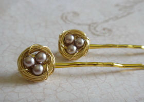 Set of 2 Gold Bird's Nest Hair Pins