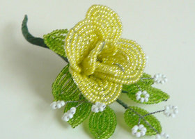 French Beaded Rose Brooch