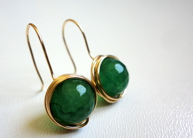 Natural GREEN Emerald Gemstone Beads Wire Wrapped Earrings
