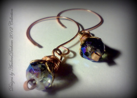 Handmade Copper Earrings Tanzanite Crystals