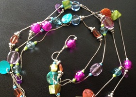 Stunning Blown Glass and Silver Necklace