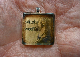 Handcrafted Witchy Woman Glass Tile Pendant on Ball Cha
