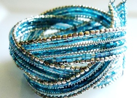 Blue and Silver Beaded Cuff Bracelet - Braided Bracelet