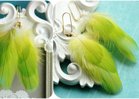 Parrot Green Feather Earrings
