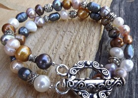 Two strand freshwater pearl, multi colors silver fancy toggle bracelet free shipping