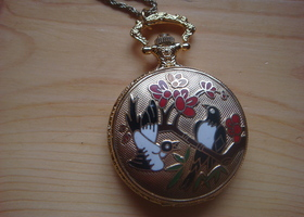 birds and flowers pocket watch necklace costume jewelry