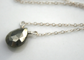 Simple Pyrite and Sterling Silver Necklace