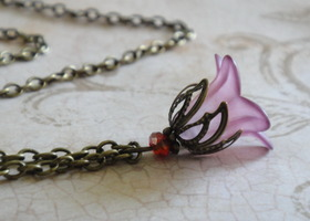 Merlot Wine Colored Lily Necklace