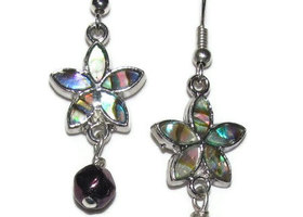 bead earrings abalone flower with fire polished crystal