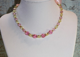 Ribbon Swarovski Necklace - Rose and Jonquil