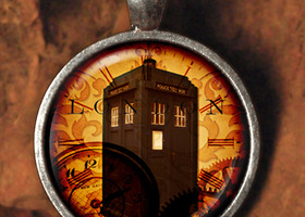 London Time Travel Steampunk Glass Tile Pendant