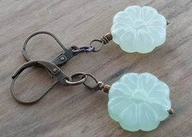 Pale green Asian inspired leverback earrings