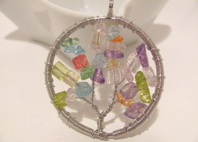Tree Of Life Pendant Multi Color Quartz Stones Beads Wrapped in Silver