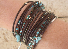 Boho Chic Brown Leather Wrap Bracelet with Mixed Turquoise and Brown Miyuki Beads