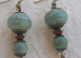 Natural Turquoise Earrings with Bronze Czech Beads