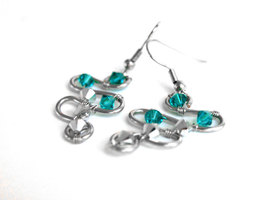 Turquoise and Comet Swarovski Crystal Earrings