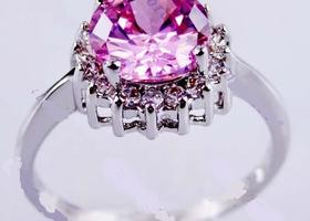 size 8 Pink Sapphire White Gold Filled Ring