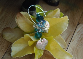 "4"" of  Emerald Oak Leaf Earrings"