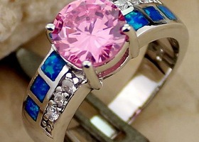 Pretty Pink Topaz and Inlaid Blue Opal Ring