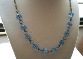 Light Sapphire Blue Glass Beads Necklace