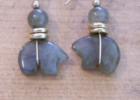 Labradorite and Gold Polar Bear Earrings!