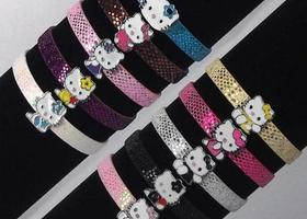 2 Hello Kitty Charm Faux Leather Bracelets - You Pick the Colors