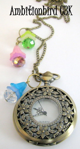 b137e8d4b Gorgeous Floral Necklace & Watch, Embellished with C... | Tophatter