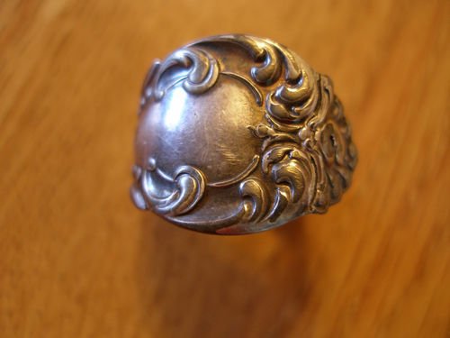 Vintage Silver Carved Spoon Ring