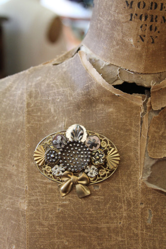 Antique Button Steampunk Brooch